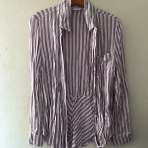 BeachLunchLounge Pink & Grey Striped Blouse